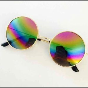 Other - Rainbow Gold Frame Mirrored Sunglasses
